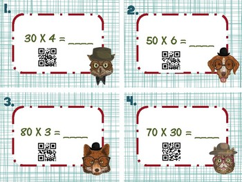 Multiplying by Multiples of Ten 10 Task Cards Hipster Animals QR Codes