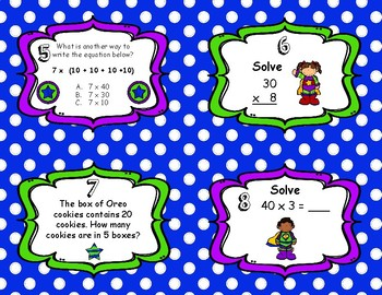 Multiplying by Multiples of Ten Task Cards 3.NBT.3