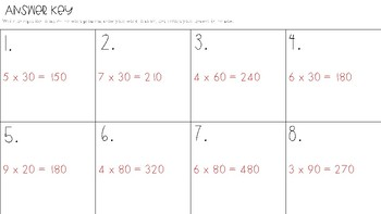 Multiplying by Multiples of Ten Task Cards