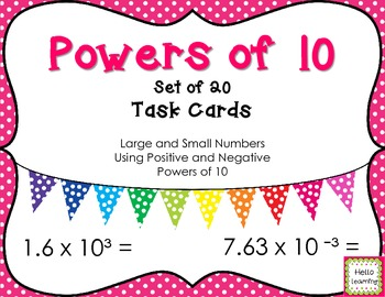 Multiplying by Powers of 10 Task Cards- Set of 20