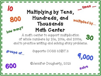 Multiplying by Tens, Hundreds, Thousands Math Center
