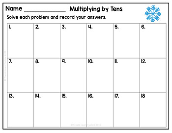 Multiplying by Tens Task Cards Christmas