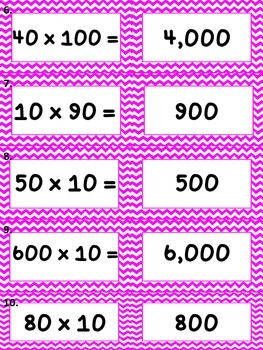 Multiplying by Tens and Hundreds Matching Game - TEKS 4.4b