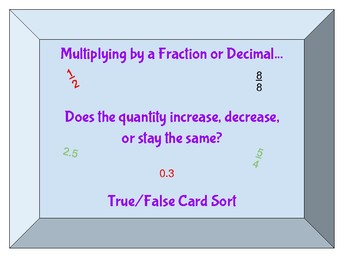 Multiplying by a Fraction or Decimal- Increase or Decrease? Card Sort