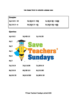 Multiplying by Multiples of 10 and 100 Lesson Plans, Works