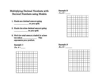 Multiplying decimal numbers with decimal numbers using models foldable