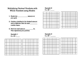 Multiplying decimal numbers with whole numbers using models foldable