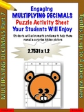 Multiplying decimals puzzle activity worksheet (Level 7)