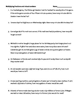 Multiplying fractions and mixed numbers story problem worksheet