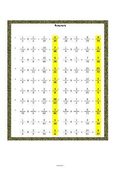 Multiplying fractions worksheets (160 questions!)