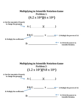 Multiplying in Scientific Notation Team Game