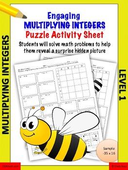Multiplying integers activity worksheet Level 1