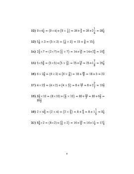 Multiplying mixed numbers and whole numbers 2