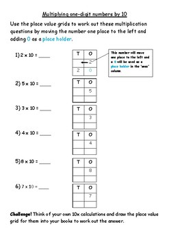 Multiplying one-digit numbers by 10 using Place Value Grid