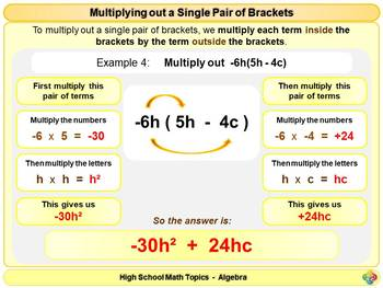 Multiplying out a Single Pair of Brackets for High School Math