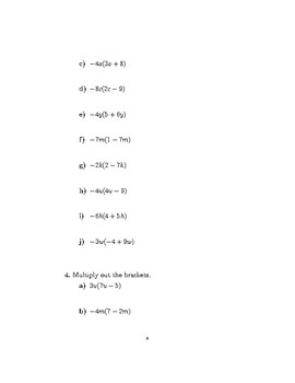 Multiplying out single brackets (harder) worksheet (with solutions)