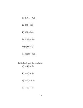 Multiplying out single brackets worksheet (with solutions)