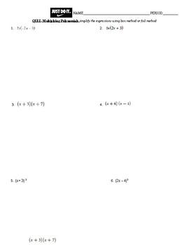 Multiplying polynomials quiz