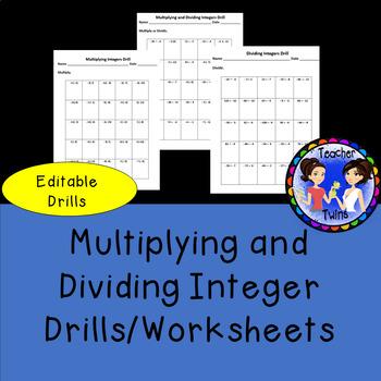 Multiplying and Dividing Integer Drills/Worksheets