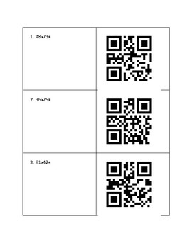 Multiplying up to 4x1 Digit and 2x2 Digit Numbers QR Activity