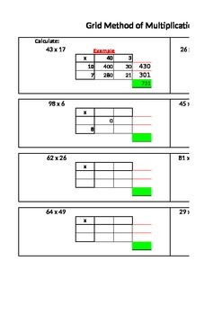Multiplying using the grid method interactive resource