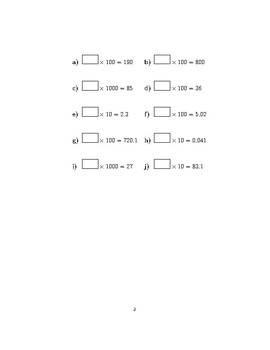 Multiplying whole numbers and decimals by 10, 100 and 1000