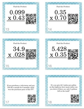 Multiplying Decimals Task Cards with Optional QR Codes
