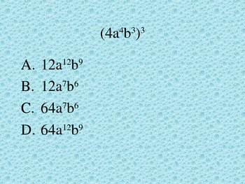 Multiplying with Exponents Multiple Choice Quiz PowerPoint