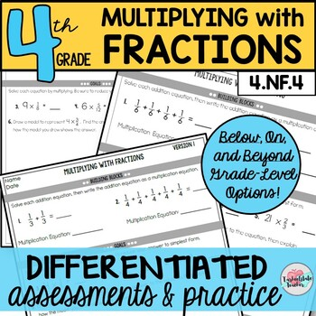 Multiplying with Fractions Assessments or Practice Sheets {Differentiated}