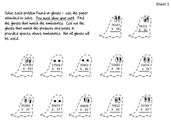 Multiplying with Larger Numbers - Halloween