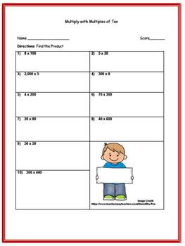 Multiplying with Multiples of 10 (Three Worksheets w/ Answer Keys)