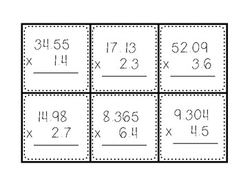 Multiplying with decimals task cards