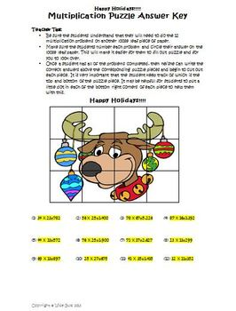 Multiplying with two-digits Activity (Holiday Reindeer)