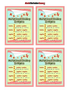 Multiplying/Dividing Integer Rules Poster with Cards for Students Math Journals