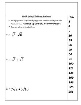 Multiplying/Dividing Radicals