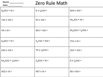 Multiplying/Dividing by tens