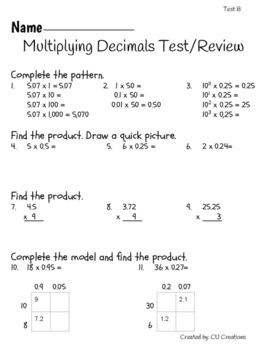 Multiplyling Decimals Test/Review with Answer Key