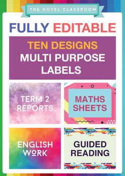 Multipurpose Editable Labels - 10 different designs