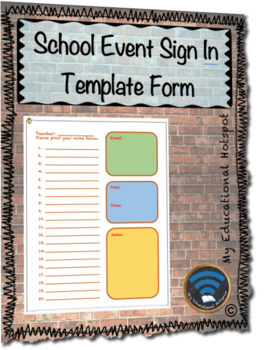 Multipurpose School Event Sign In Sheet Template Form