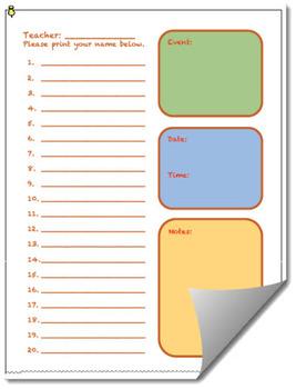 Multipurpose School Event Sign In Sheet for Documentation
