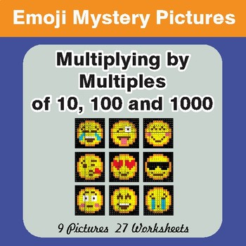 Multipying by 10, 100, 1000 Color-By-Number EMOJI Mystery Pictures