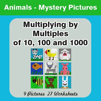 Multipying by Multiples of 10, 100, 1000 - Color-By-Number