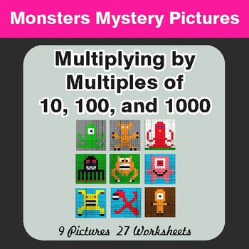 Multipying by 10, 100, 1000 - Color-By-Number Mystery Pictures