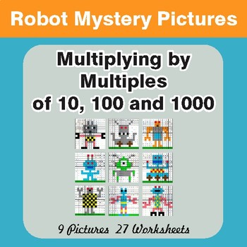 Multipying by 10, 100, 1000 - Math Mystery Pictures