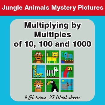 Multipying by Multiples of 10, 100, 1000 - Mystery Pictures