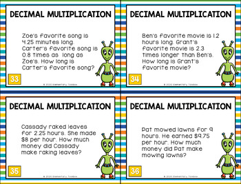 Decimal Multiplication Task Cards