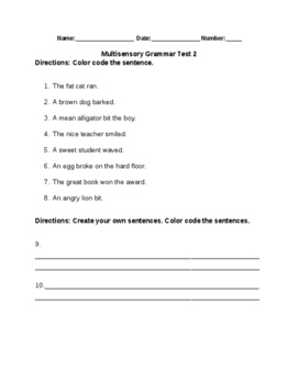 Multisensory Grammar Test 2
