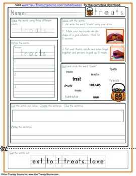 Multisensory Handwriting Activity for Halloween Freebie