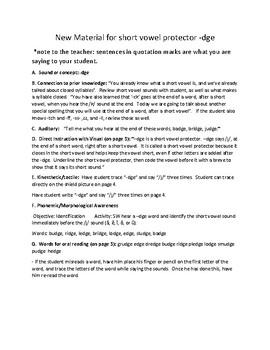 Multisensory (Orton-Gillingham) Lesson for Teaching -dge