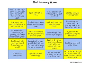 Multisensory Spelling/Sight Word Menu: Dyslexia Friendly